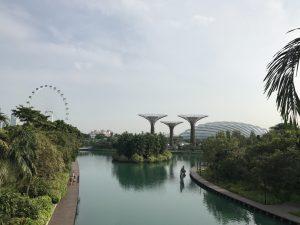マリーナベイサンズからの橋から見える風景