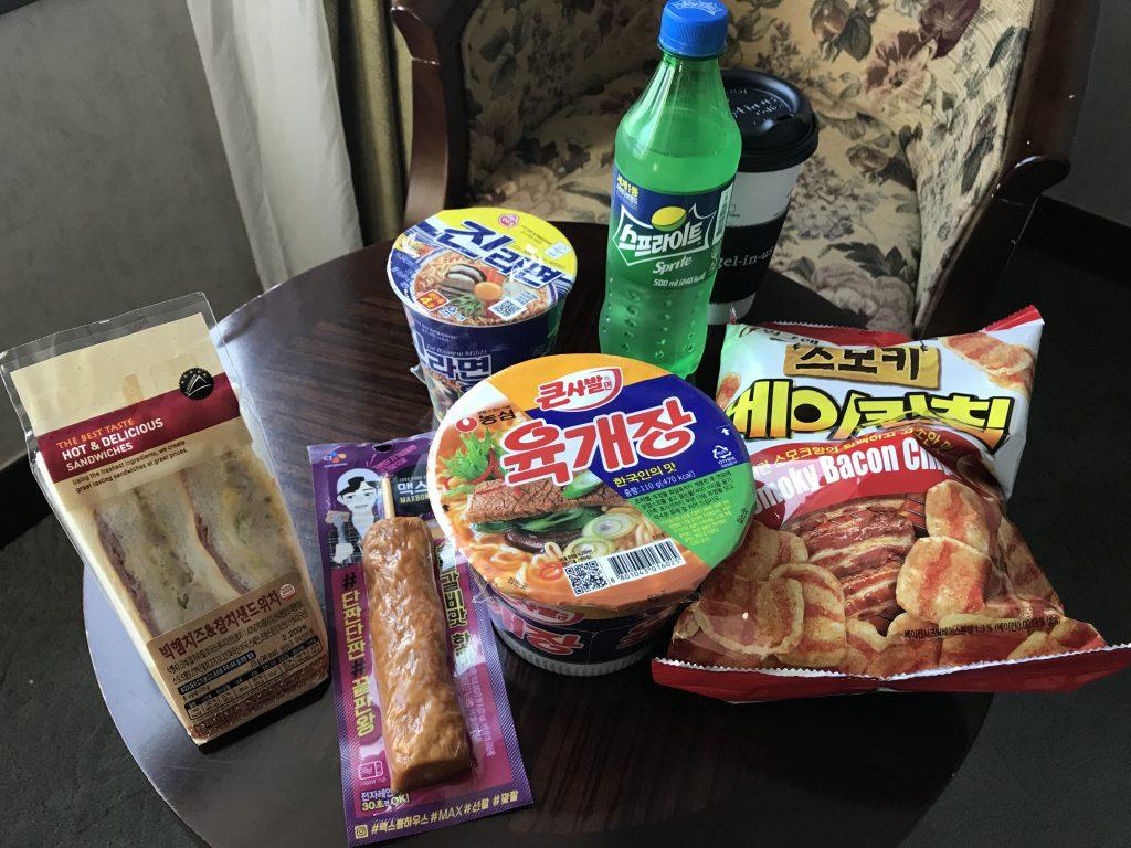韓国のコンビニで購入した商品
