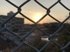 吉原第二中学校 北側からの夕日